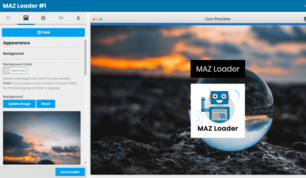 WordPress Preloader - MAZ Loader - Setting Background and colors